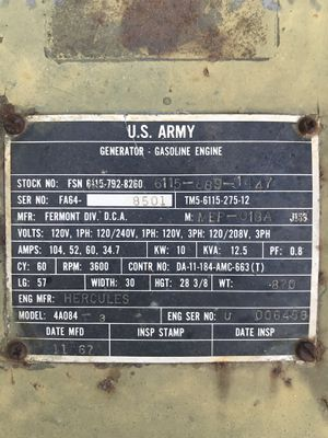 1967 10 kW Army Generator with a Hercules 4a084 for Sale in Bradford Woods, PA