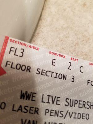 2-WWE Supershow Ringside Floor Tickets. for Sale in Grand Rapids, MI