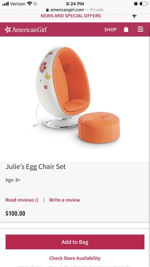 American girls doll chair with ottoman real speaker for Sale in Annandale, VA