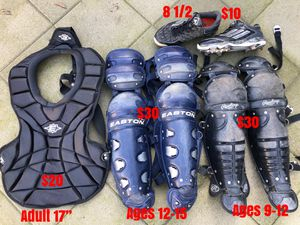 Baseball catcher gear cleats leg guards Easton Rawlings Nike mizuno new balance equipment gloves for Sale in Culver City, CA