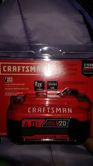 CRAFTSMAN-20V MAX 4.0 Ah LITHIUM ION BATTERY for Sale in Escondido, CA