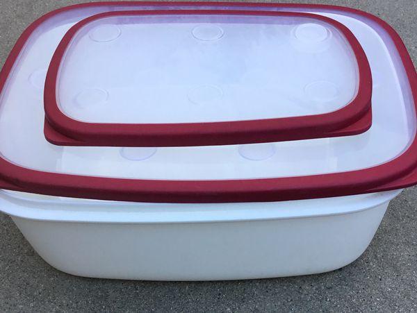 2 FOOD STORAGE CONTAINERS | IKEA 365+ Heavy Duty Plastic Hagan Olsson Design - 1 large container & 1 medium container