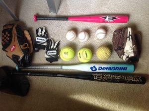 Softball / Baseball gloves, bats, balls, ball bag for Sale in Clackamas, OR