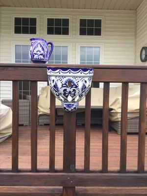 Large hand painted flower pot and pitcher for Sale in Medina, OH