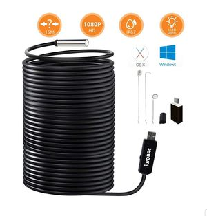 USB Endoscope, 2.0 Megapixels HD 8.5mm Waterproof Borescope Inspection Camera with 6 Adjustable LED Lights for Windows PC MacBook Laptop (15m/50ft) for Sale in Anaheim, CA