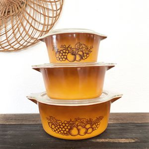 """Set of 3 vintage Pyrex """"Old Orchard"""" 1970s Casserole Dishes w/ lids for Sale in Phoenix, AZ"""