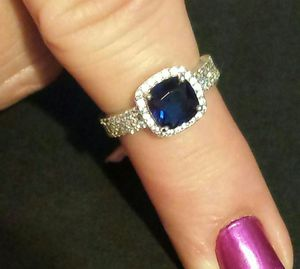 Blue Glass Simulated Diamond Ring in Sterling Silver for Sale in Lawrenceville, GA