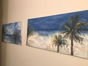2 original tropical beach canvas paintings for Sale in Nashville, TN