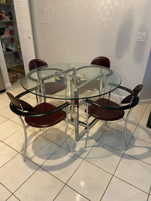 Glass Kitchen Table & 4 Leather Chairs for Sale in Boca Raton, FL