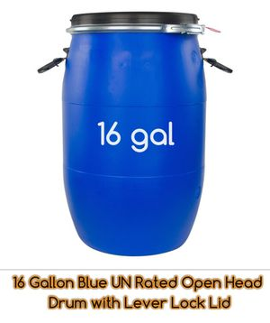 16 Gallon Blue UN Rated Open Head Drum with Lever Lock Lid for Sale in Bloomfield, NJ