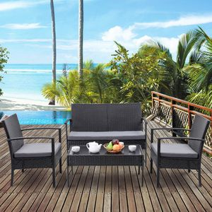 Brand New 4 Piece Rattan Patio Conversation Set Black or Brown Outdoor Furniture Cushioned for Sale in Sacramento, CA