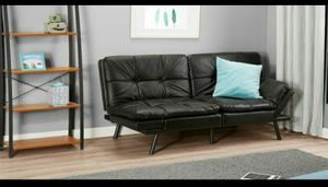 Mainstays Memory Foam Futon, Black Leather for Sale in Houston, TX