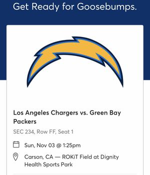 Chargers vs Packers ticket November 3, 2019 for Sale in Rancho Cucamonga, CA