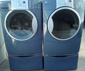 BEAUTIFUL PACIFIC BLUE KENMORE ELITE FRONTLOAD WASHER DRYER WITH PEDESTALS PRICE FIRM for Sale in West Palm Beach, FL