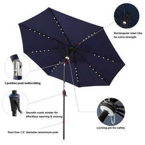 C-Hopetree 10' Outside Patio Market Umbrella with LED Solar Lights and Tilt for Sale in Mason, OH