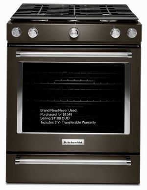 Brand New Black Stainless KitchenAid 5.8 Cu. Ft. 30 inch Gas Convection Range Model KSGG700EBS for Sale in Willington, CT
