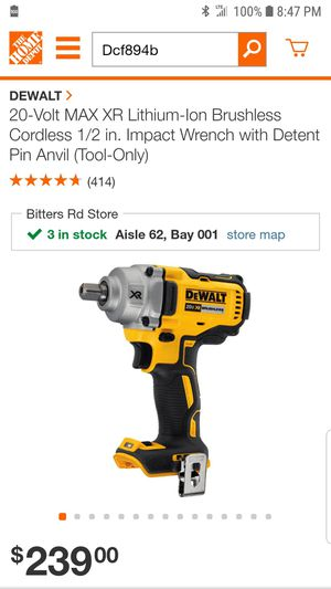 Cordless 1/2 ' Impact Wrench with Detent Pin Anvil [Tool Only ] for Sale in San Antonio, TX