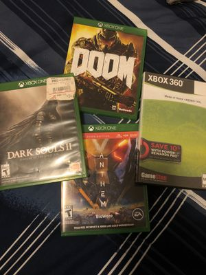 4 Xbox games. DOOM, DARK SOULS 2 SOTFS, Anthem (code not included), Medal of Honor 360 for Sale in Kissimmee, FL