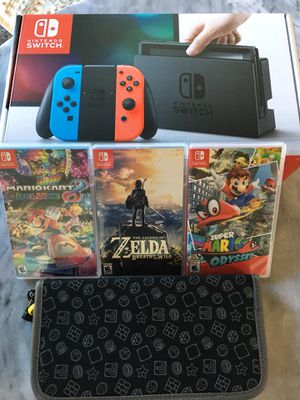 Nintendo Switch + Zelda, Mario Kart, Odyssey + Case for Sale in San Francisco, CA