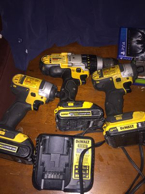 On sale 3 dewalt drills 3 batterys 1 charger for 230 dollars firm price all tools are in good conditions 2 impact drills 1, 1/2 hammer drill im in oa for Sale in Oakland, CA
