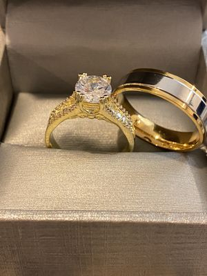 18K Gold plated Shiny MatchingRing Set- Code YL10 for Sale in Dallas, TX