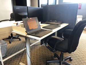 Office desk set with cubicle divider Chair/desk/monitor/divider. for Sale in Santa Ana, CA