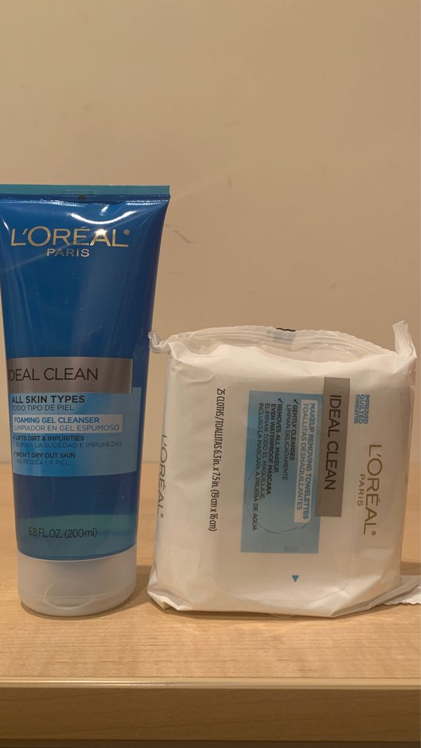 Loreal facial cleanser 6.8 oz + makeup removing wipes 25 count: both for $5