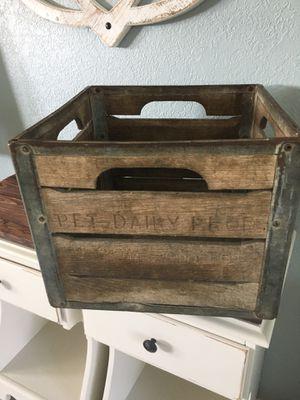 Vintage Pet Dairy Oak/Metal Milk Crate 1959 for Sale in Merritt Island, FL