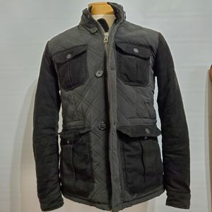 Armani Jeans Black Grey Jacket Quilted Zip Jacket W/ Hood Mens Sz 48 for Sale in Brookfield, IL