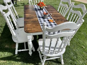 Super shabby kitchen / dining table and 6 shabby farm style chairs for Sale in Littleton, CO