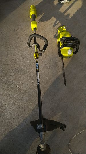 Ryobi 40 volt brushless chain saw and weed eater tool only used both work great for Sale in Moreno Valley, CA