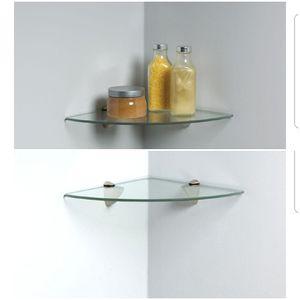 Qty 3 Satin Nickel Glass Corner Decorative Shelf / Shelves for Sale in Mesa, AZ