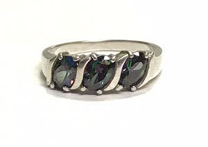 Sz 7 Sterling and Mystic Topaz 3 stone ring for Sale in Ponte Vedra Beach, FL