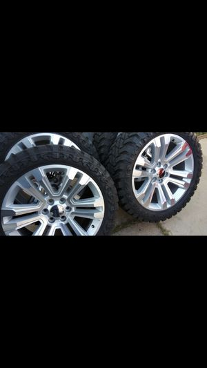 """22"""" WHEELS & 33/12.5/22 TRAIL BLADE M/T TIRES 99% TREAD ALL MATCHING TIRES for Sale in Dallas, TX"""