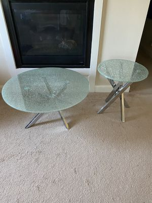 Crackled glass coffee table and end table for Sale in Covington, GA