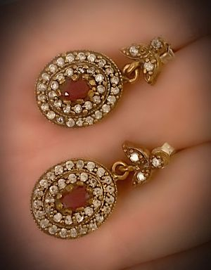 RUBY FINE ART/ARTISAN DANGLE POST EARRINGS Solid 925 Sterling Silver/Gold WOW! Brilliantly Faceted Oval Cut Gemstones, Diamond Topaz M5723 V for Sale in San Diego, CA