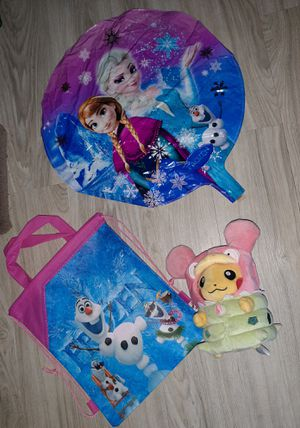 "New Christmas GIRLS Gift FROZEN OLAF Sinch tote bag with POKEMON PIKACHU dressed as Slowbro stuffed animal + 17"" Mylar Elsa Anna balloon for Sale in Manchester, NH"