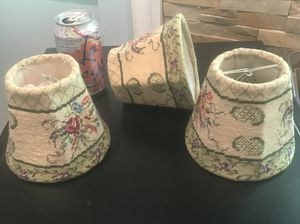 3 hand needlepointed lamp shades for Sale in Austin, TX