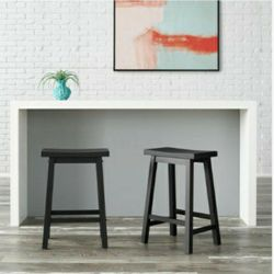 StyleWell Black Wood Saddle Backless Counter Stool (Set of 2) for Sale in Plano,  TX