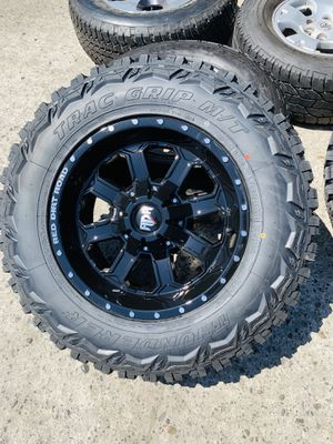 """17"""" New All gloss black rims and mud tires 2657017 for 6 lug Chevy gmc ford Toyota for Sale in Modesto, CA"""