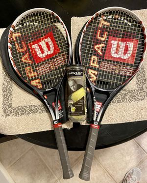 2 Wilson Tennis Rackets (w/ Wilson covers, new grips & 1 new/unopened can of tennis balls) for Sale in Glendale, AZ