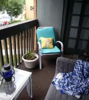 Patio furniture...two chairs and couch with cushions, table and standing planter for Sale in Denver, CO