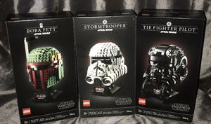 3 Lego Star Wars Helmets Boba Fett, Stormtrooper and Tie Fighter Pilot. for Sale in Santa Maria, CA