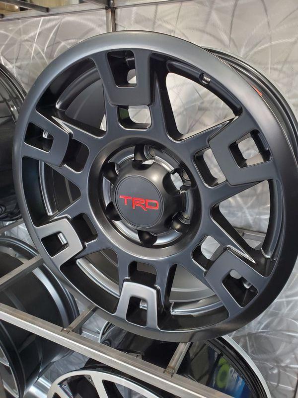 17x8 Tacoma TRD style black wheels fits 4runner FJ Lexus gx rims tires