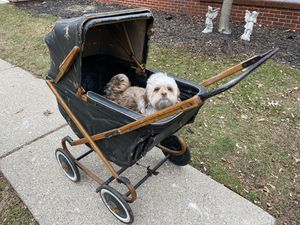 Antique / Vintage Blue Wood Baby Rolling Stroller Cart Photo Prop Photographer Equipment Supply Studio Collectable Home Decor Furniture for Sale in Madison Heights, MI