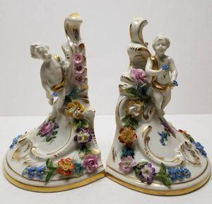 A Pair of Antique Carl Thieme Postchapple Dresden Bookends for Sale in Denver, CO