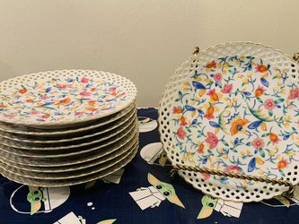 """Set of 10 Vintage 7.5"""" reticulated chintz lunch plates (made in Germany) for Sale in Huntington Beach,  CA"""