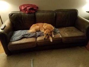 """Used leather couch , extra long (90"""") for Sale in Buffalo, NY"""