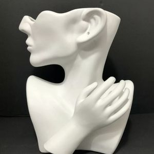 White Ceramic Half Round Face With Hand Flower Vase Simple Decorative Flower Pot for Sale in Glendale, CA