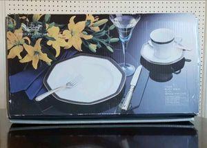 NEW SET China Christopher Stuart Black Dress China Octagon Black Gold Trim 20 Piece Service 4 for Sale in Arlington, VA